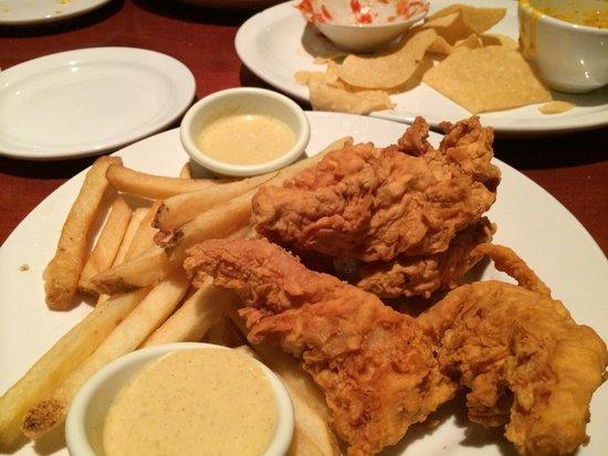 Cheddar's Scratch Kitchen: Chicken tender and fries appetizer. HUGE