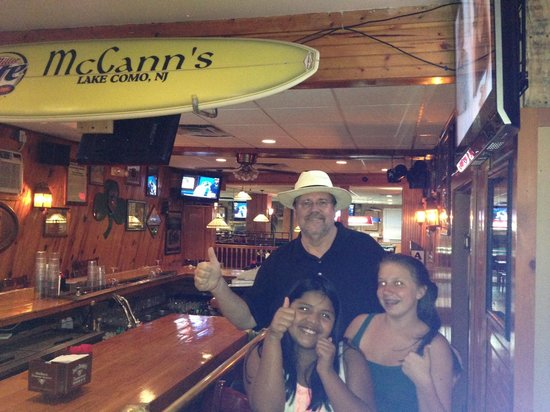 McCann's Steer & Spirits: The classy bar area at McCann's with Dr. Jim Brown and children