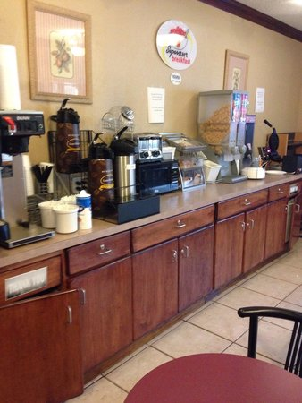 Super 8 Raleigh Downtown South: Breakfast area. All carbs. Very limited choices.