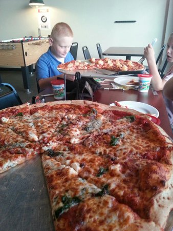 PizzaWest: Popeye-roni in the foreground and Hawaiian in the background