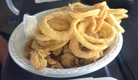 Belle Isle: Fried Oysters With Onion Rings And Fries