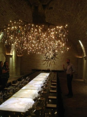 HALL Rutherford: Tasting in the cave room under a beautiful chandelier