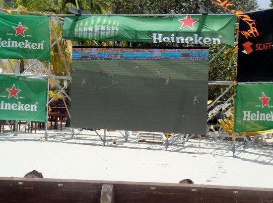 Holiday Inn Resort Aruba - Beach Resort & Casino: Screen setup for World Cup and Moomba.  USA!!!!