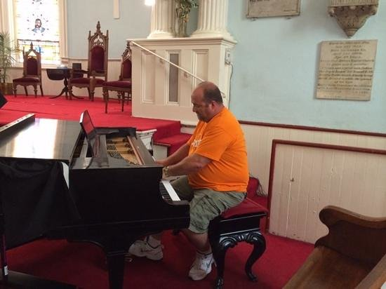 First African Baptist Church: my husband, Tracy Fansler playing the piano.