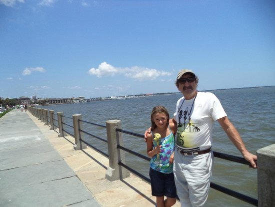 Charleston Waterfront Park : A boy on the waterfront gave my grandaughter a palmetto leaf rose.