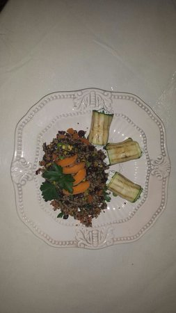 The Essential Cafe & Bistro: Quinoa with roasted eggplant stuffed with goat cheese