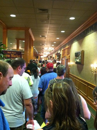 Shady Maple Smorgasbord: One of two long lines to be seated, this was after we were waiting for a while