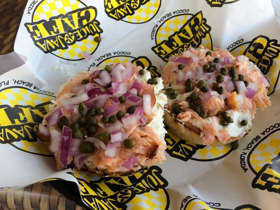 Juice N Java Cafe: Smokehouse Bagel. Bagel + cream cheese + smoked salmon + onions & capers = pure bliss