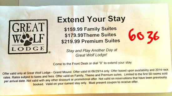 Great Wolf Lodge : Extend Your Stay Notice