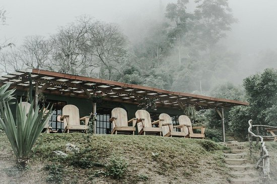Earth Lodge: Misty evening at the lodge