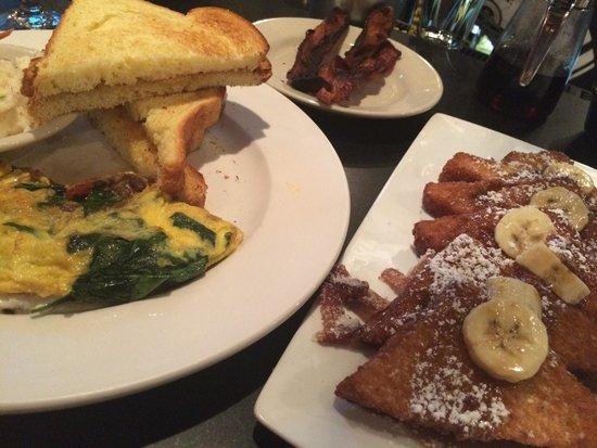Parisian omelette, B street French toast, bacon-