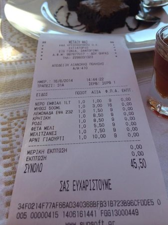 Metaxy Mas Tavern: The Bill