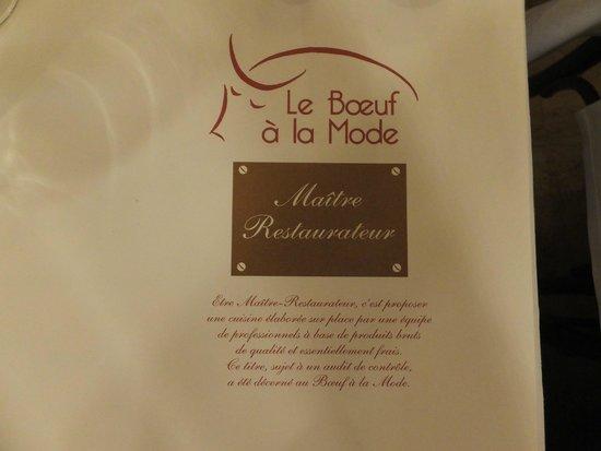 Le Boeuf a la mode: メニュー