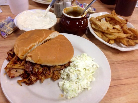 Ridgewood Barbecue: BBQ, beans, fries, and blue cheese