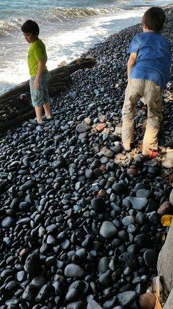 Liberty Dive Resort: Black pebble stoned shore