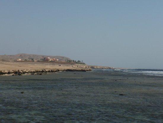 Siva Port Ghalib : Вид с пирса на виллу шейха слева от отеля - там очень красивый риф и есть черепахи