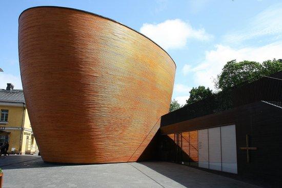 Kamppi Chapel of Silence: outside - like a orange colored teacup
