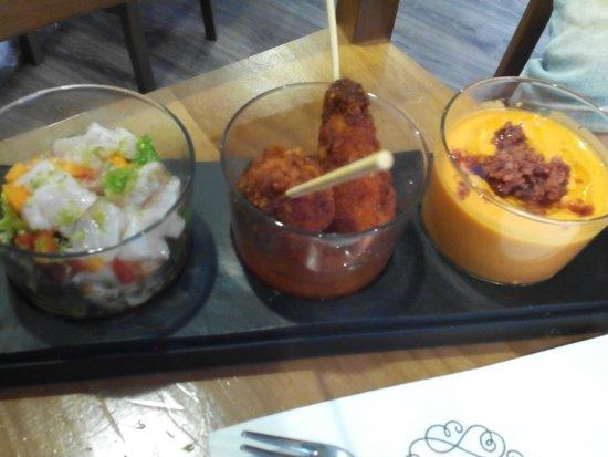 Taberna del Chato : Ceviche, Pollo crujiente y Salmorejo