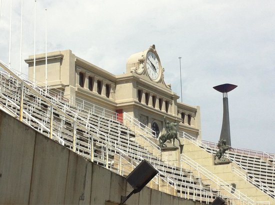 Estadi Olímpic: Olympic Torch and clock tower in Barcelona