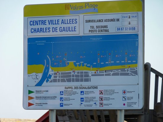 Camping Domaine de la Yole : Map of Valras-Plage beach