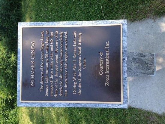 Seneca Lake plaque and history