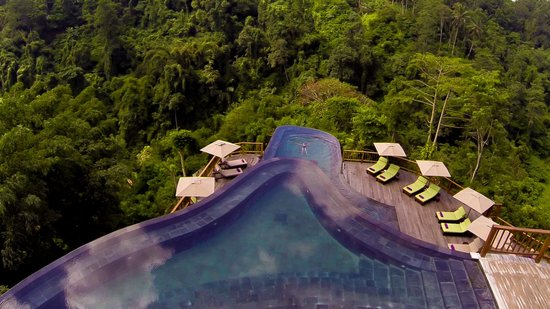 The Restaurant at Hanging Gardens Ubud: The Restaurant overlooks the #worldsbestpool