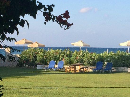 Ismini Apartments: 40 meter over gressplen, bak hekken - stranden med seks parasoller forbeholdt Isminis gjester