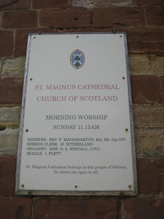 Saint Magnus Cathedral: Plaque outside
