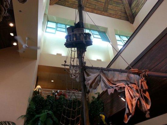 Cedar Point's Castaway Bay : Inside the lobby. Pirate Ship
