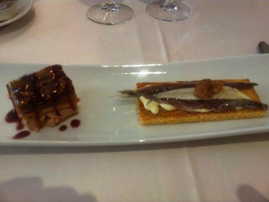 Diego's: Terrina de salmón y foie con un toque de frambuesa y mango y matrimonio de perdigacho y boquerón
