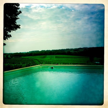 Chateau Valandraud: views across the pool