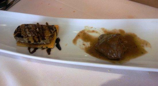 Diego's: Carrillada estofada al vino de la Ribera y crujiente de oreja de cerdo sobre tosta con salsa de