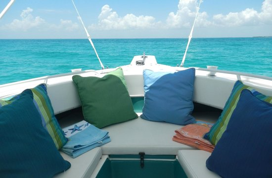 Be Offshore! Charters: Comfortable open boat with lots of shade.