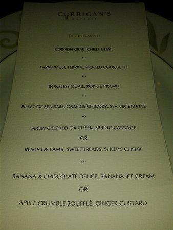 Corrigan's Mayfair: Our menu