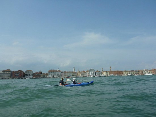 Venice Kayak : Beautiful day on the water. Here, we're headed back to Certosa.