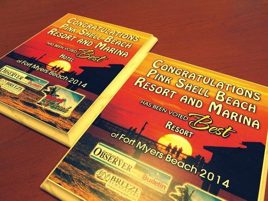 "Pink Shell Beach Resort & Marina : ""Best of the Beach"" Awards 2014- Best Resort and Best Hotel on Fort Myers Beach"