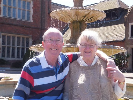 Dunston Hall: relaxing beside the fountain