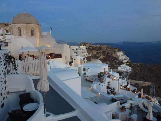 Golden Sunset Villas : View from the terrace - evening Oia