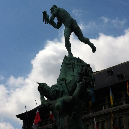 Town Hall (Stadhuis): the statue of Brabo in the central facade of Antwerp's great town hall