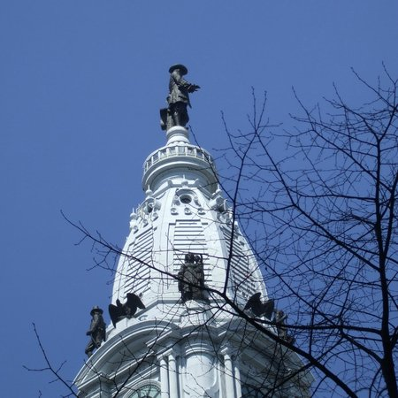 City Hall: William Penn surveying his city on a sunnier occasion