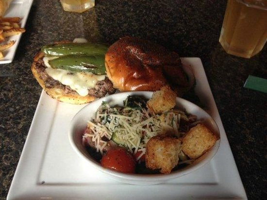 Copper Penny Pub: Hell Fire burger with panzanella side
