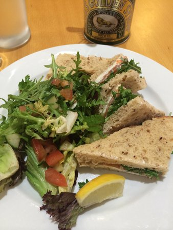 Food at Williams: Salmon and cream cheese sandwich with salad