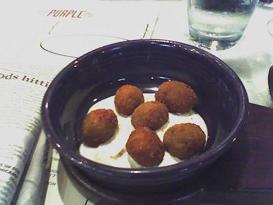 The Purple Pig : Chorizo Stuffed Fried Olives