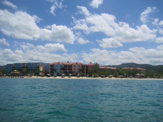 Sandals South Coast: View of resort from our kayak we took out into the ocean