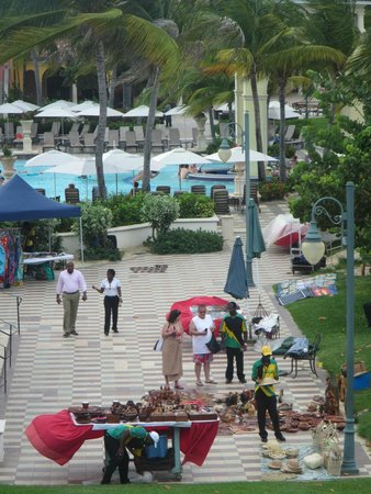 Sandals South Coast: The vendors setting up for the market, they bring in locals to sell goods