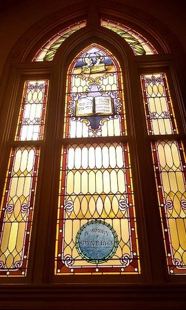 Mickve Israel Temple: One of the many beautiful windows in the sanctuary.
