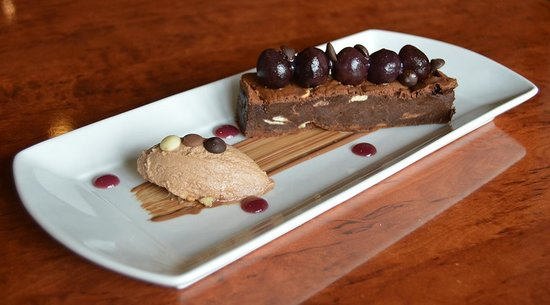 The White Swan: Chocolate brownie with milk chocolate mousse and cherries.