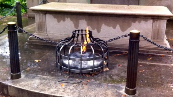 Washington Square Park: The eternal flame in the rain