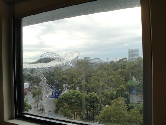 Ibis Budget Sydney Olympic Park Hotel: view was nice of Olympic village but window had not been washed in a LONG time