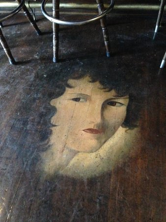 The Saloon at the Historic Western Hotel: old owners wife painted on floor